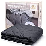 """FOOZOUP Weighted Blanket 15lbs 60 x 80"""" Premium Heavy Blanket 4.0 – 3 inch Quilted Weighted Throw 100% Cotton Full/Queen Size for Adults Anxiety, Dark Grey"""
