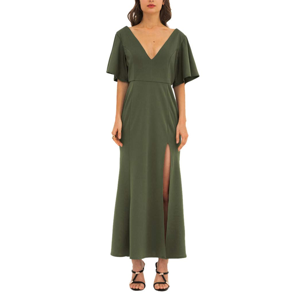 HCFKJ Women Casual Dress Summer Fashion Lady V Neck Slimming Temperament Pure Color A Shaped Green