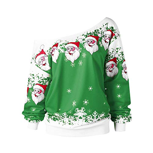 Hotsellhome New Fashion Womens Tops Ladies Merry Christmas Santa Claus Print Skew Collar Sweatshirt Blouse Pullover Womens Clothes Green