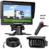 LeeKooLuu Backup Camera 7 Monitor 12V-24V System Kit RV/Truck/Camper/Trailer/Bus Connecting Single Power Continuous/Reversing Viewing ON/Off Switch IP68 Waterproof IR Night Vision