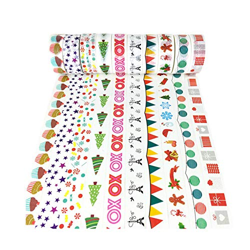 XYBAGS Christmas Decorative Washi Tape,Set of 10 Rolls, Assortment of Christmas Holiday Designs & Shapes (Style A) (Christmas Tape)