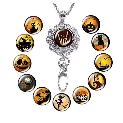 Lanyard Necklace Snap Button Charm Necklace Office Lanyard ID Badges Holded Filigree Round Pendant Necklace Clip -