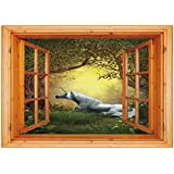 3D Depth Illusion Vinyl Wall Decal Sticker [ Unicorn,Enchanted Forest Fantasy Magical Willow Trees Wildflowers Woodland Animal Folklore,Green White ] Window Frame Style Home Decor Art Removable Wall S