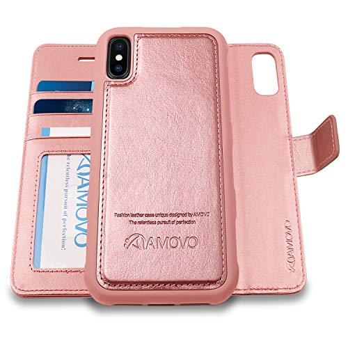[Upgraded] AMOVO Case for iPhone Xs Max [2 in 1] iPhone Xs Max Wallet Case Detachable [Wireless Charging] [Vegan Leather] iPhone Xs Max Flip Case with Gift Box Package (XSMAX (6.5) Rosegold)