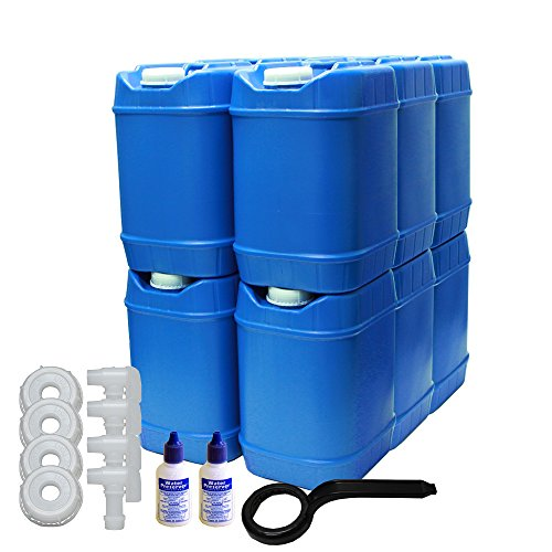5-Gallon Stackable Water Container kit (60 Total Gallons), 12 Pack, Blue, BPA Free, High Density Polyetholene (HDPE) w/Built In Handle w/(2) Bottles of Water Preserver & 4 Additional Lids & 4 Spigots -