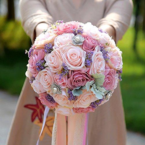 (Zebratown 8'' Lavender Bridal Bridesmaid Pearl Bouquets Artificial Pink Rose Silk Flowers Bouquet Home Wedding Decoration (Lavender))