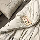 zen chic quilt patterns - Eikei Modern Vintage Retro Mod Print Bedding Egyptian Cotton Duvet Cover Set Minimalist Chic Botanical Design Asian Zen Style Reversible Pattern in Full Queen or King Size (Queen, Neutral Tan)
