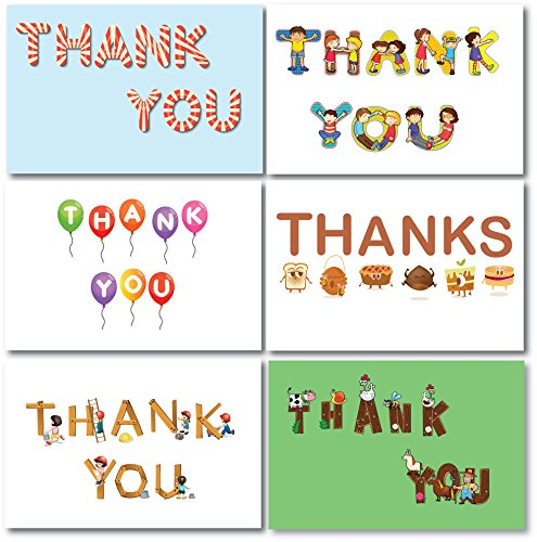 Thank You Cards for Kids Boys Girls 36 Count | Cheerful Colorful Thank U Notes Cards | 6 Designs w/Envelopes | 4x6 Inches | Birthdays Baby Showers Parties Celebrations Toddlers