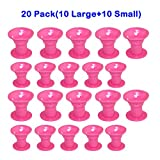 Image of EZGO 20 Pieces Magic Hair Care Curler No Clip Silicone Soft Hair Style Roller, Pink