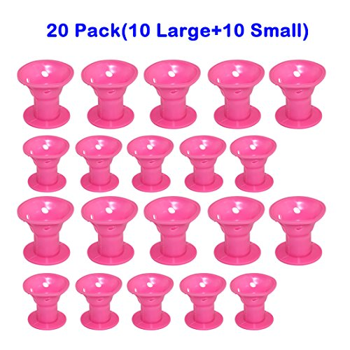 EZGO 20 Pieces Magic Hair Care Curler No Clip Silicone Soft Hair Style Roller, Pink