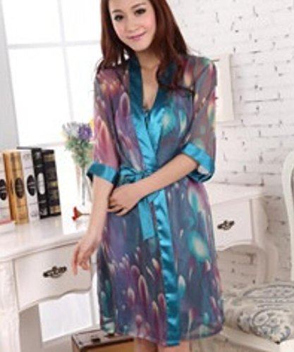 Gowns Size Ladies Rosy Nightdress Gowns Blue Dressing Strap Transparent Dress Strap Wanyne Color Dress Dressing with with XL 2pcs Set Robe Printed gSnxCHq