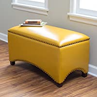 Premium Nailhead Storage Bench - Modern Leather Window Seating Organizer Home Furniture Living Room Bedroom Entryway Indoor Flip Top (Mustard Yellow)