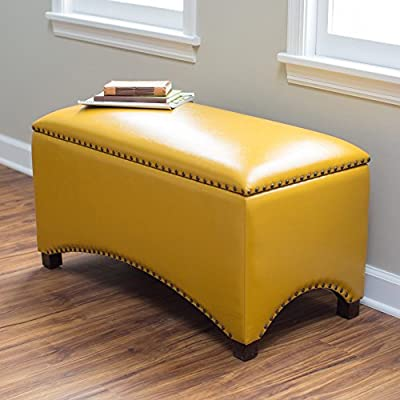 """Premium Nailhead Storage Bench - Modern Leather Window Seating Organizer Home Furniture Living Room Bedroom Entryway Indoor Flip Top (Mustard Yellow) - Poplar wood frame covered in bonded leather upholstery FREE eBook by MyBeautifulHome - """"Furniture For You"""" by R. Garcia - delivered via email at the day of the delivery! Lightweight and versatile design - entryway-furniture-decor, entryway-laundry-room, benches - 511 WqwE7HL. SS400  -"""