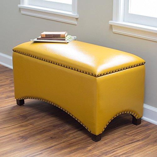 Premium Nailhead Storage Bench   Modern Leather Window Seating Organizer  Home Furniture Living Room Bedroom Entryway Indoor Flip Top (Mustard Yellow)