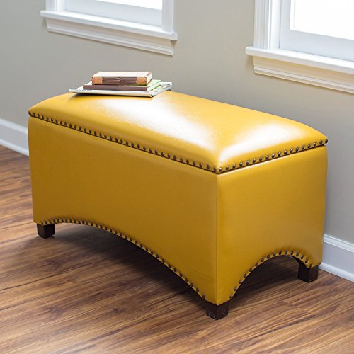 (Premium Nailhead Storage Bench - Modern Leather Window Seating Organizer Home Furniture Living Room Bedroom Entryway Indoor Flip Top (Mustard Yellow))