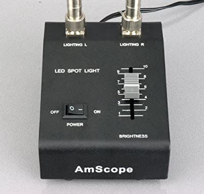 AmScope LED-6W Powerful 6 Watt LED Dual Gooseneck Lights Illuminator