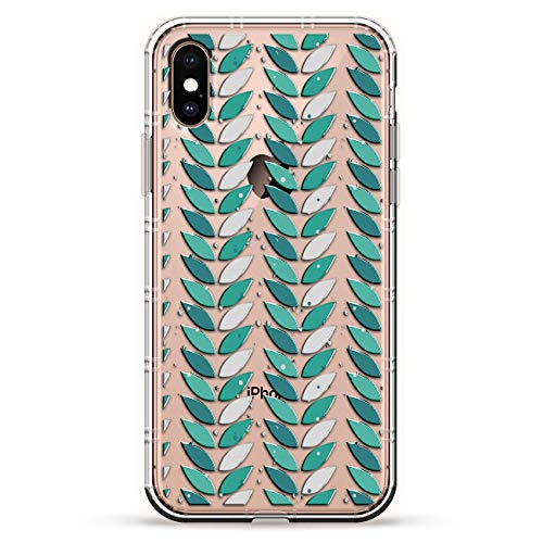 LEAVES IN COLUMNS | Luxendary Air Series Clear Silicone Case with 3D printed design and Air-Pocket Cushion Bumper for iPhone Xs Max (new 2018/2019 model with 6.5