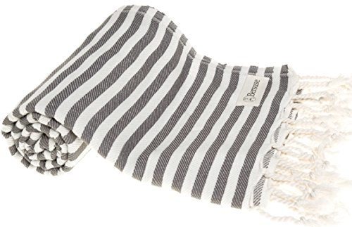 Bersuse 100% Cotton Malibu Turkish Towel, 37X70 Inches, Anthracite