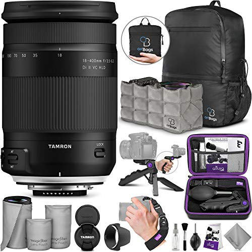Tamron 18-400mm f/3.5-6.3 Di II VC HLD Lens for Canon DSLR Cameras with Altura Photo Essential Accessory and Travel Bundle (Tamron Canon For Rebel Lens)