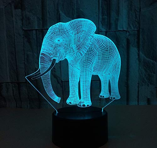 Lumiere Elephant 3D Night Light LED Optical Illusion Lamp with USB Cable, 7 Colors Change, Smart Touch Control and ABS Base, Cool Birthday Gift for Boys and Girls