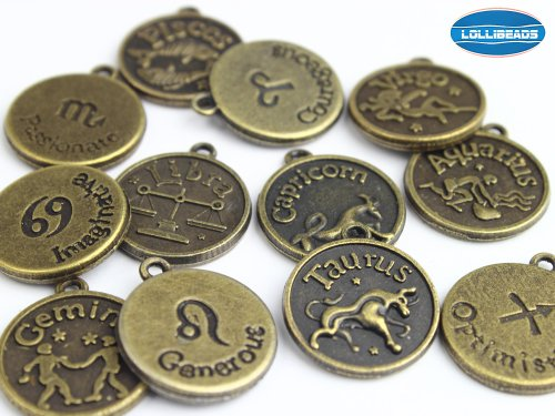 Antique Charm (LolliBeads (TM) Jewelry Making Antique Brass Bronze Vintage Style Round Charm Zodiac Set of 12)