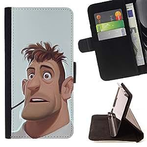 - Queen Pattern FOR Apple Iphone 4 / 4S /La identificaci????n del cr????dito ranuras para tarjetas tir????n de la caja Cartera de cuero cubie - man portrait cgi computer graphics