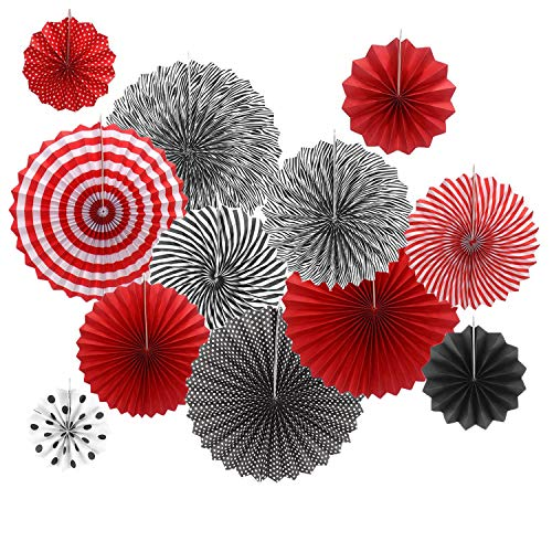 12PCS Red Black Grad Graduation Party Hanging Paper Garland Casino Las Vegas Party Decoration Backdrop for Ladybug Baby Shower Wedding Bridal Shower Women Girl Birthday Carnival Holiday Decoration]()