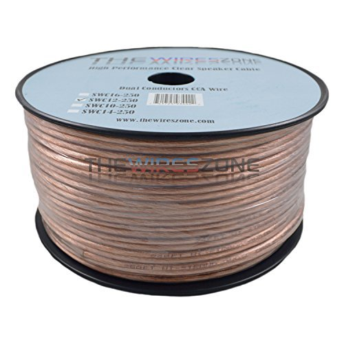Price comparison product image The Wires Zone SWC12-250 Clear Transparent 250', 12 Gauge, AWG Speaker Wire Cable for Car Home Audio