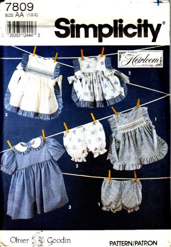 - Simplicity 7809 Size AA Oliver Goodwin Smocked Pinafore Pattern
