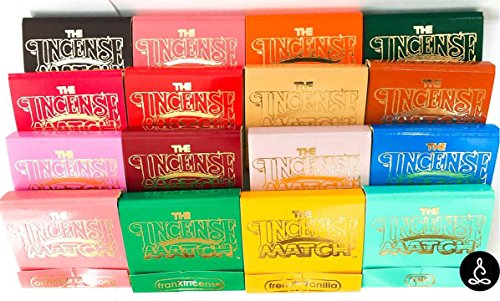 Mini Fragrance Incense - The Incense Match Original Scented Matches Mini Incense Stick - Set of 16 Unique Fragrances - Air Freshener, Odor Eliminator by Serene Treasures