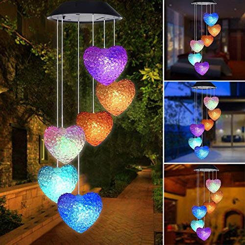 Color Changing Wind Chime White Heart LED Wind Chime Wind Mobile Portable Waterproof Outdoor Decorative Romantic Wind Bell Light for Patio Yard Garden Home