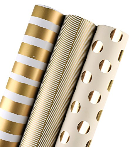 LaRibbons Gift Wrapping Paper Roll - Gold Print for Birthday, Holiday, Wedding, Baby Shower Gift Wrap - 3 Rolls - 30 inch X 120 inch Per Roll (Stripe Gift Christmas Wrap)