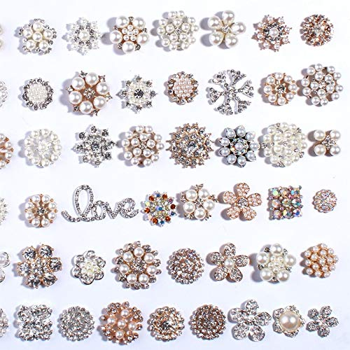 Maslin 120PCS Bling Fashion Metal Alloy Rhinestone Buttons for Flower Centers Silver Gold Crystal Rhinestone Button for Wedding Invite - (Color: Mix)]()