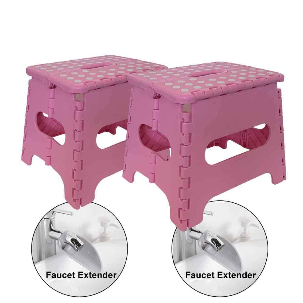NEOGEAR Folding Step Stools & Faucet Extenders for Kids 2-Pack (Pink)