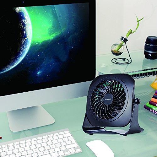Desk Personal Fan USB Table Portable Fan(2 Speed, 4 Inch,Quietness)(Black) by SENPAIC (Image #5)