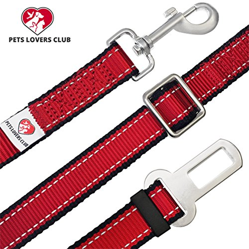 PetsLovers Premium Pet Seat Belt Seatbelt - Best for Dog Cat Safety in Car - 14-25in Adjustable Durable Nylon (Red 14-25 in)