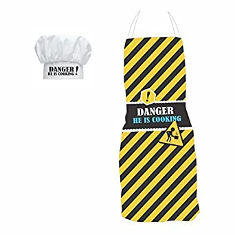 YaYa Cafe Gifts For Men Dangerous He Is Cooking Apron With Chef Hat