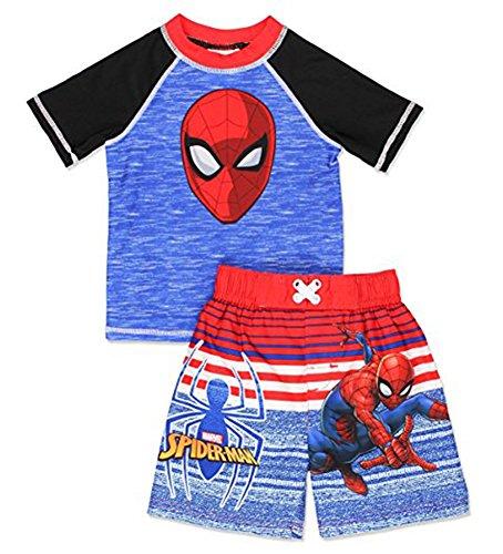 Spider-Man Little Boys Toddler 2pc Swim Short Set, Blue 3T