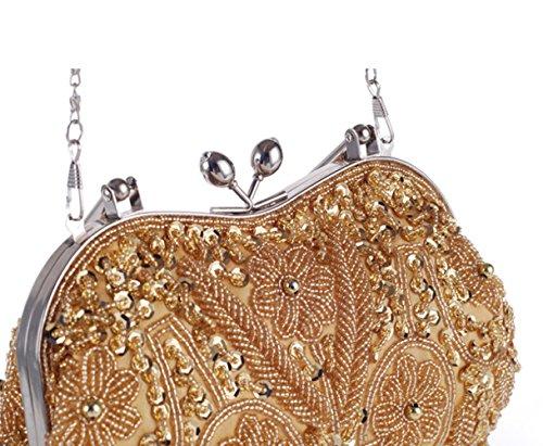 Da A Gold Borsa Fatto Tracolla Mano Artigianale Perline Borsa Stile Di Borsa WLFHM Signore Sera Etnico Borsa UIqvwnaw