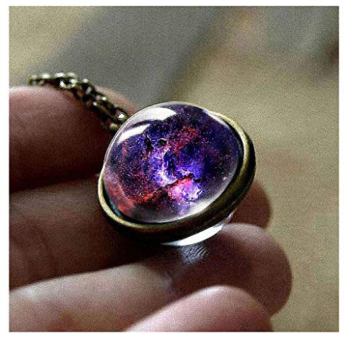 - Womens Pendant Necklaces New Nebula Galaxy Double Sided Pendant Outer Space Necklace Universe Silver Jewelry Glass Art Picture Handmade Necklace 7