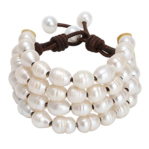 (PearlyPearls Women's Multi Strands Pearl Bracelet on Genuine Leather Cord Handmade Jewelry 7.8'')