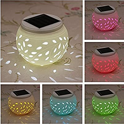 Ceramic Solar Light,SOLMORE LED Solar Ceramic Table Lights,Garden Lights,Filigree Lights,Solar Outdoor Lights Waterproof for Party Home Yard Patio Outdoor Indoor Decoration Night Lamp Color Changing