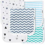 KiddyStar Baby Burp Cloths for Boys 5 Pack, Organic...