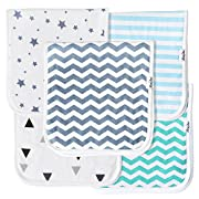 KiddyStar Baby Burp Cloths for Boys 5 Pack, Organic Cotton, Large 21 x10 , Triple Layer, Thick, Soft and Absorbent Towels, Burping Rags for Newborns, Baby Shower Gift