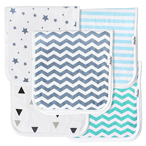 KiddyStar Baby Burp Cloths for Boys 5 Pack, Organic Cotton, Large 21x10, Triple Layer, Thick, Soft and Absorbent Towels, Burping Rags for Newborns, Baby Shower Gift