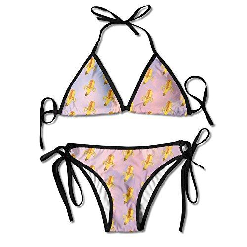 JINYOUR Banana Hot Dog in Pink Sky Women's Two-Piece Suits Bikini Beach Bathing -