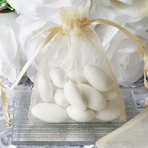 50 pcs 3x4 inch Organza Drawstring Bags Pouches - Wedding Favors - Champagne