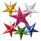 Auony 6 Pack Paper Star Lantern Lampshade, 3D Paper Star Pentagram Lampshade for Christmas Xmas Wedding Party Home Hanging Decorations