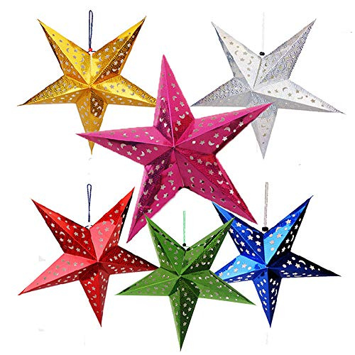 Auony 6 Pack Paper Star Lantern Lampshade, 3D Paper Star Pentagram Lampshade for Christmas Xmas Wedding Party Home Hanging Decorations -