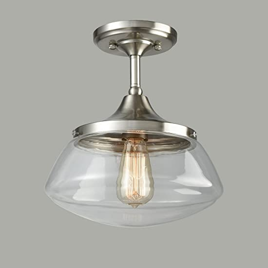 CLAXY Ecopower Industrial Modern Schoolhouse Ceiling Light Brushed Nickel Semi-Flush Mount Light Fixture